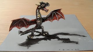 How to Draw 3D Dragon - Drawing Red Dragon - VamosART