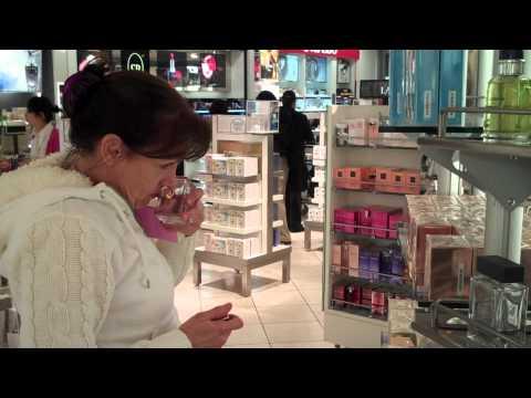 Strudel at LAX Duty Free shop buying perfume.mp4