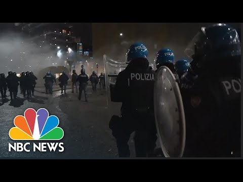 Italian Police Clash With Demonstrators Protesting Country's New Covid-19 Restrictions | NBC News