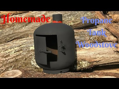 12 YEAR OLD BUILDS A HOMEMADE  WOODSTOVE FOR TINY HOUSE | Propane Tank Woodstove