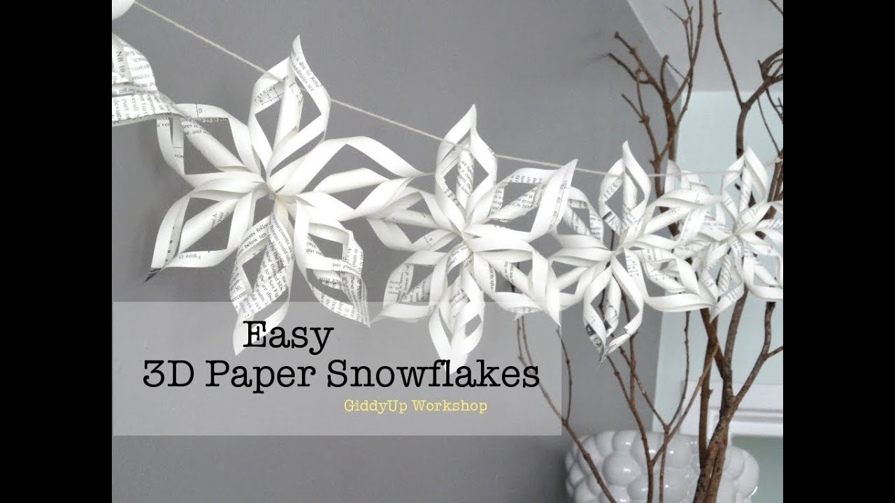 Easy 3d Origami Paper Snowflake Tutorial Youtube