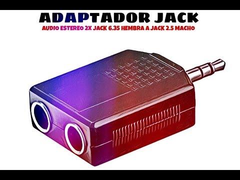 Video de Adaptador audio estereo 2x Jack 6.35 hembra a Jack 2.5 macho  Negro