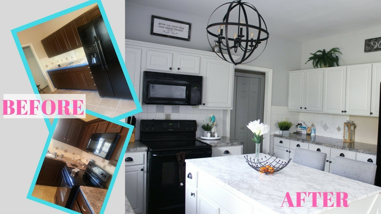 Diy Modern Farmhouse Kitchen Makeover Before After Simple Kitchen Remodel On A Budget Youtube