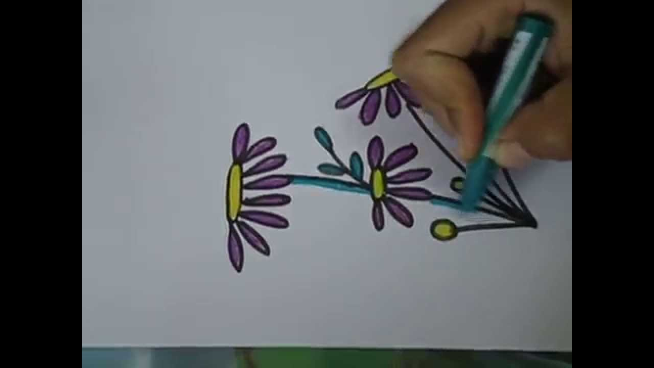 Easy Drawing For Kids Purple Flower Drawing In Simple Steps Youtube