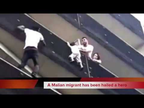 Video of Mamoudou Gassama Spiderman spectacular rescue of child in paris wows france