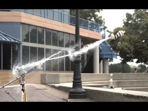 2 liter water rocket launch with fins captured at 4,000 FPS