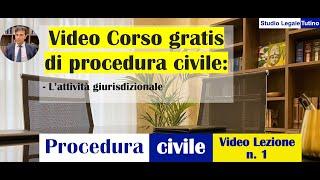 Diritto processuale civile - Video Lezione n.1: L'attività giurisdizionale