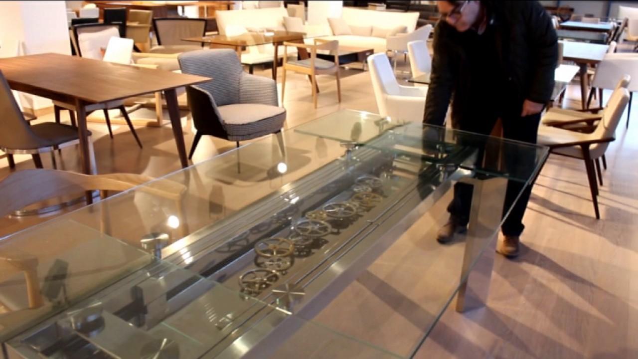 Mesa de comedor de cristal extensible Krono | Ángel Cerdá para Ámbar ...