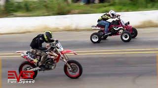 Drag Races | Ninja 300, Yamaha YZ, R3, RX, Banshee, KTM Duke | 14 Seg. 1ra válida motos 1/4 de milla