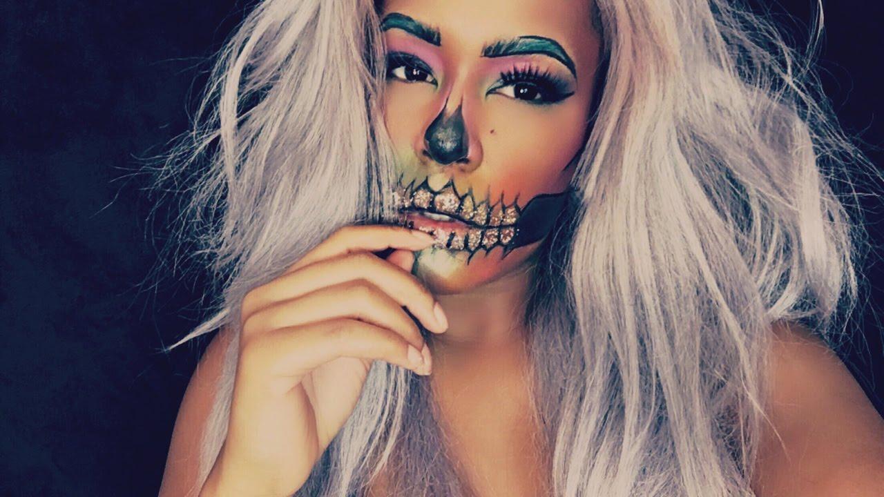 Rainbow Glitter Skull Makeup Tutorial