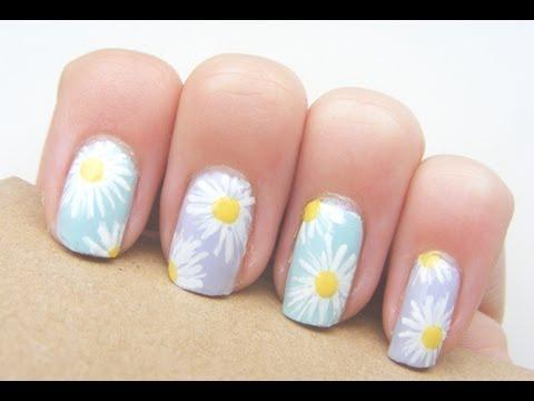 Easy daisy nails! - YouTube