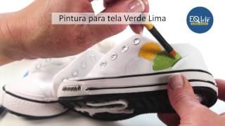 Como aplicar la pintura para tela Eq Arte en zapatillas de lona?