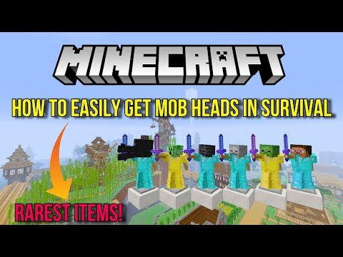 Minecraft How To Easily Get Mob Heads In Survival - (RAREST ITEMS!) - Tutorial