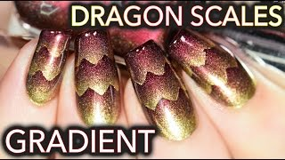 Dragon Scales nail art! (aka Triple Scaled gradient)