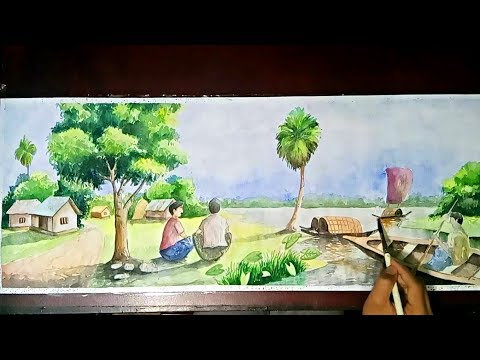 Watercolor painting a beautiful village landscape | Speed Painting in watercolor.