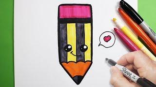 رسم قلم رصاص كيوت | رسم كيوتات |  رسم أطفال سهل |  تعليم الرسم للاطفال