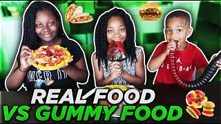 GUMMY FOOD VS REAL FOOD CHALLENGE *EATING GIANT GUMMY FOOD* Best Gross Real Worm Candy