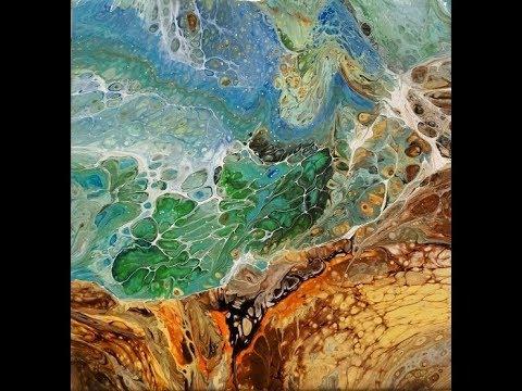 Ocean View, flip cups, pour, basics, DecoArt Acrylics, cells