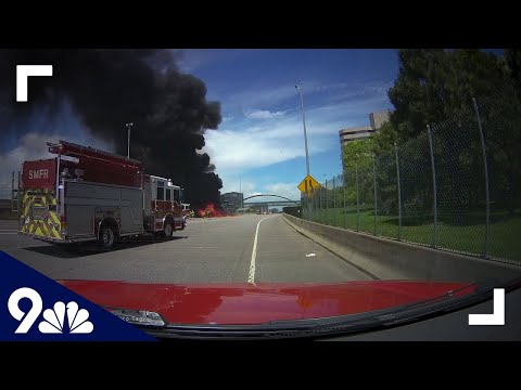 RAW: Dash Cam Shows Fire Engine Responding To Massive Highway Fire