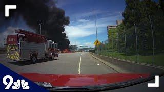 RAW: Dash cam shows fire engine responding to massive highway fire