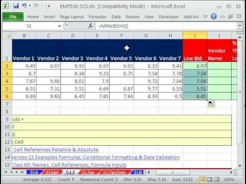 Excel Magic Trick 517: Vendor Name For Low Bid & % Cheaper Than