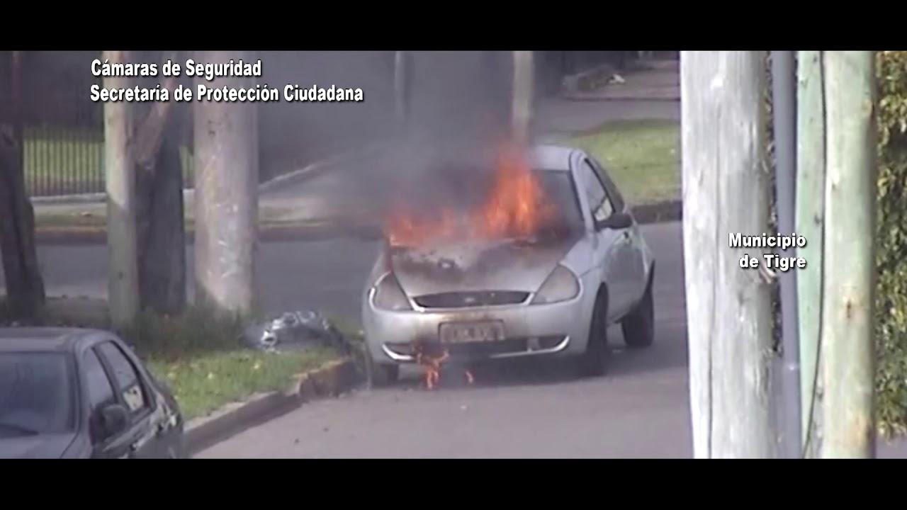Controlaron un incendio de un auto en Tigre tras ser detectado por las cámaras