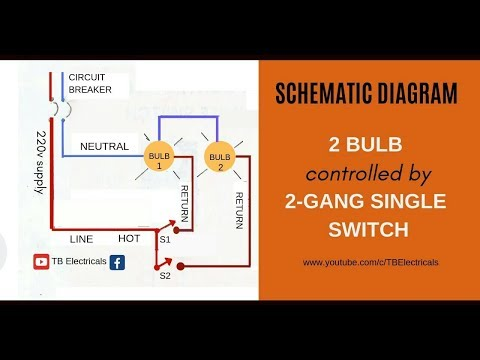 electrical tutorial: 2 gang switch wiring (actual and schematic diagram) -  youtube  youtube