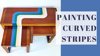 Groovy Painted Curved Stripes  Upcycled Nest of Tables  Retro Painting