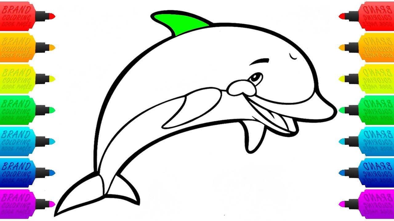 how to draw dolphin colouring pages for children animal coloring book drawing for kids - Dolphin Coloring Book
