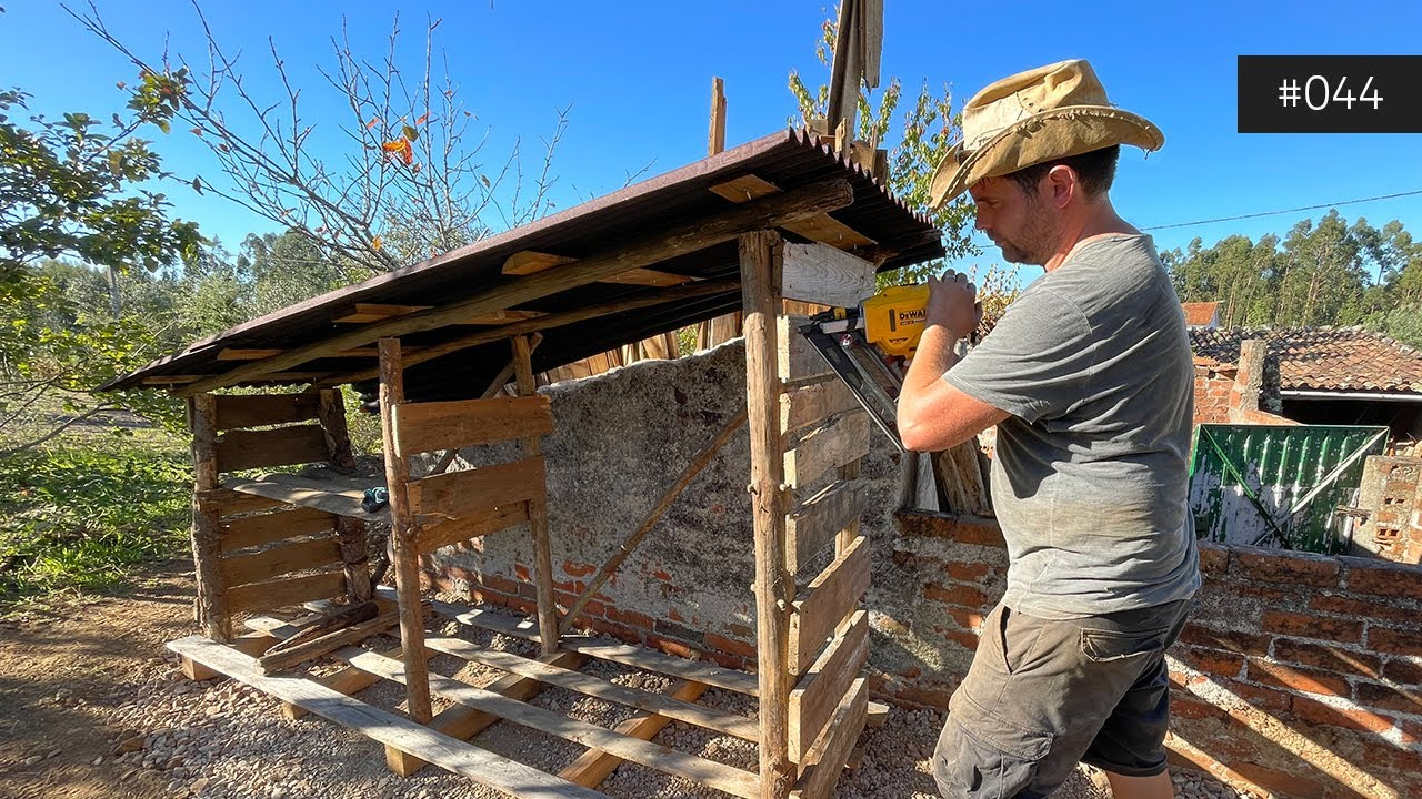 Building a RUSTIC Wood Store and Chopping Fire Wood for Winter - Portugal Property Renovation - 044