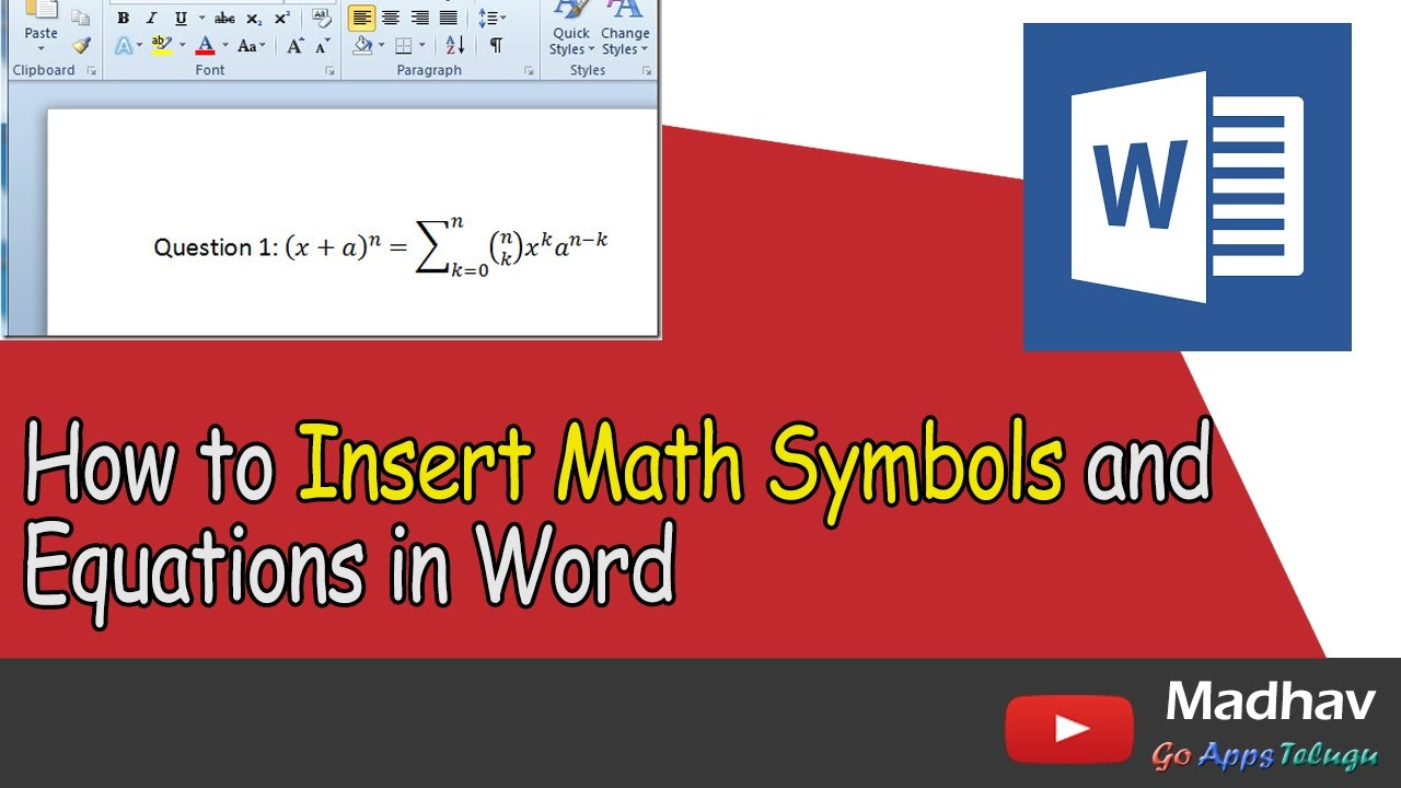 How to insert math symbols and equations in word youtube biocorpaavc Image collections