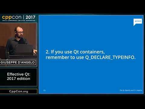 "CppCon 2017: Giuseppe D'Angelo ""Effective Qt (2017 edition)"""