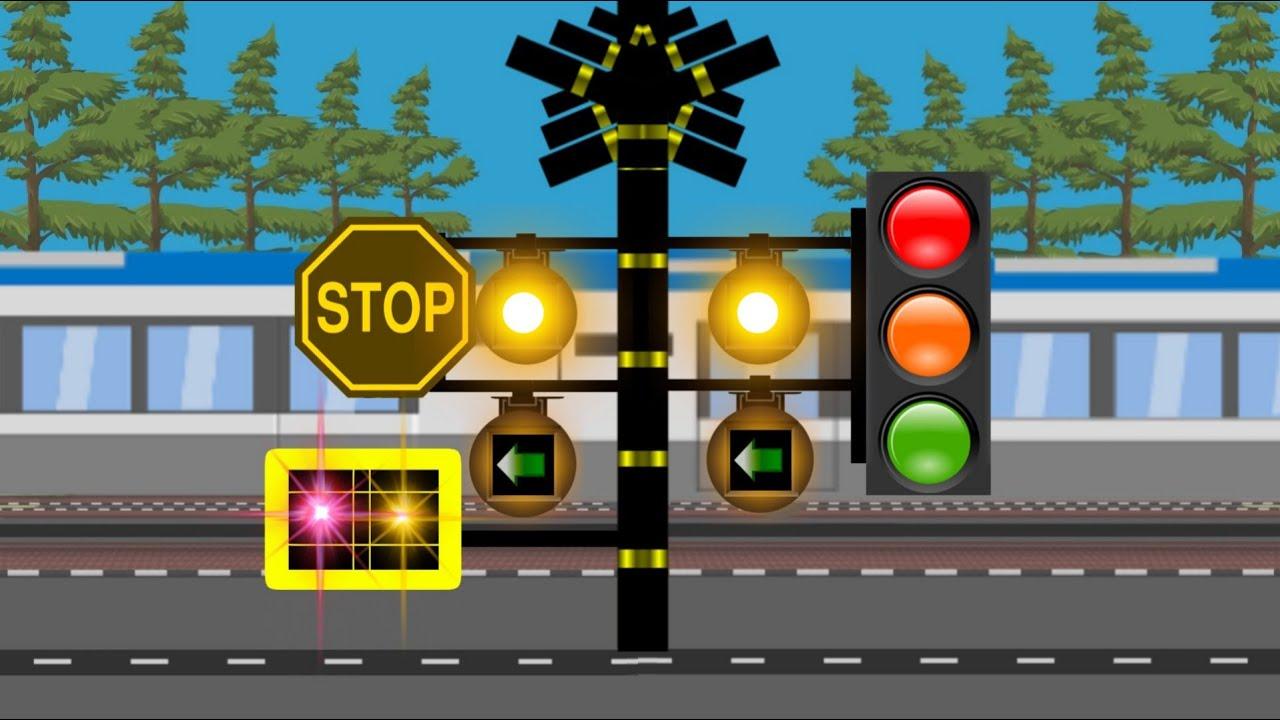 Download Palang pintu kereta api panjang lampunya rambu lalu lintas lucu - Animasi perlintasan kereta api 踏切