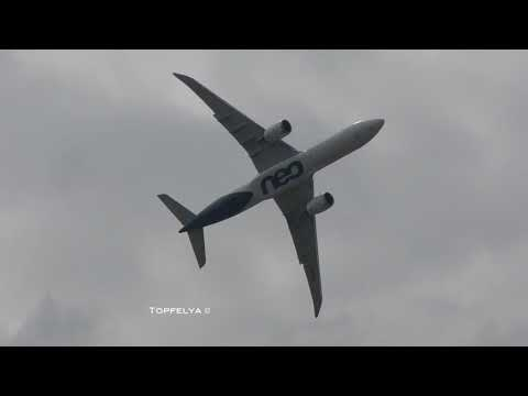Airbus A330 NEO Sharp right turn after takeoff Practicing for Farnborough Airshow 2018