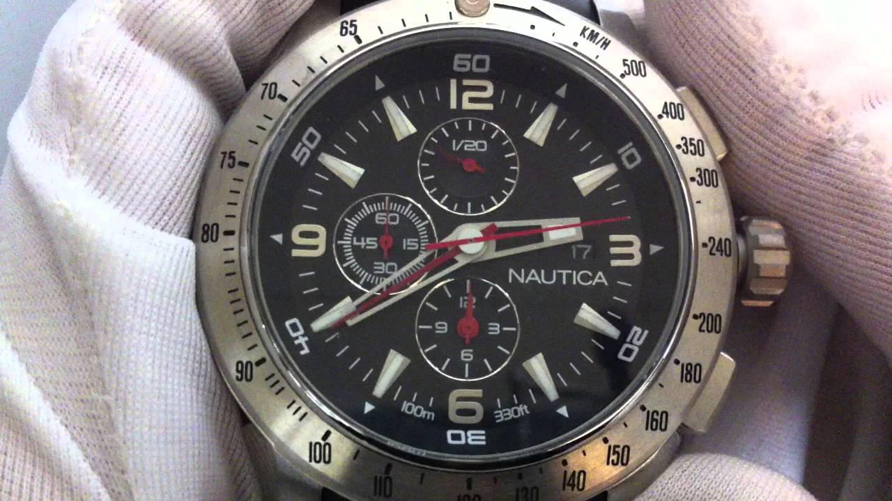 men s black nautica nst chronograph watch n17591g