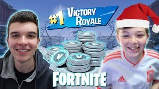 CHRISTMAS CHALLENGE AT FORTNITE!!! EVERY KILL HE EARNS 1000 V-BUCKS!!!