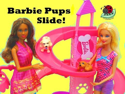 Thumbnail: BARBIE SLIDE AND SPIN PUPS PLAYSET with Barbie Fashionista Doll | itsplaytime612