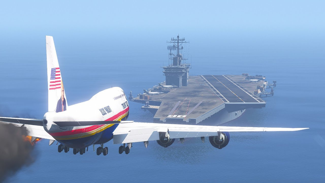 Trump's 747 Emergency Landing On Aircraft Carrier After Engines Explode | GTA 5