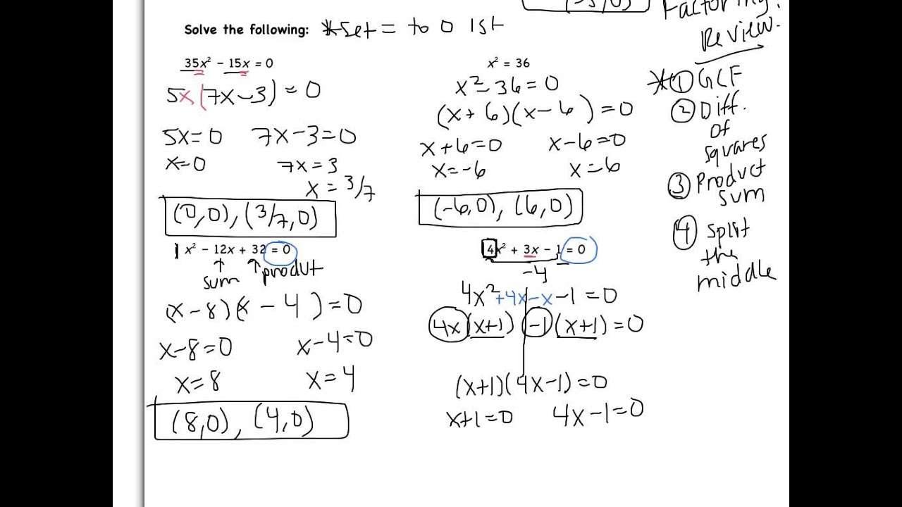5 3 Solving Quadratic Equations By Factoring