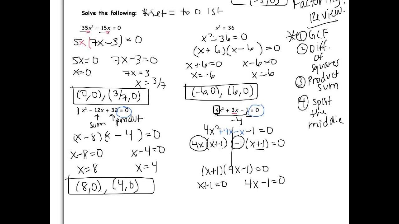 5 3 Solving Quadratic Equations By Factoring