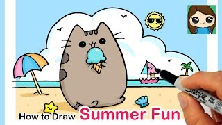 How to Draw Pusheen at the Beach | Summer Art Series #3