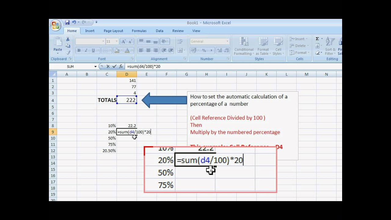 how to add percentages excel
