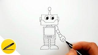 Как Нарисовать Робота Ребенку | Рисуем Робота поэтапно, шаг за шагом(Как нарисовать робота. В этом видео я показываю как рисовать робота ребенку. Я рисую робота поэтапно, шаг..., 2016-08-20T16:10:34.000Z)