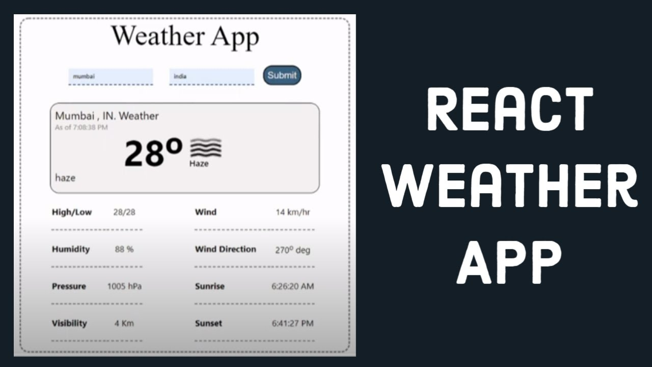 Build a Weather App in React JS | Using Weather API