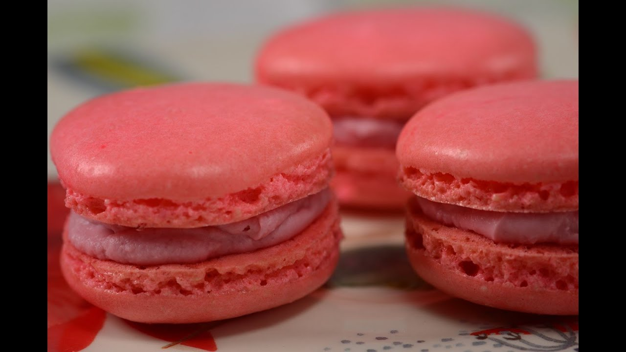 Raspberry Macarons Recipe Joyofbaking Com Video Recipe