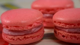 Raspberry Macarons Recipe Demonstration - Joyofbaking.com