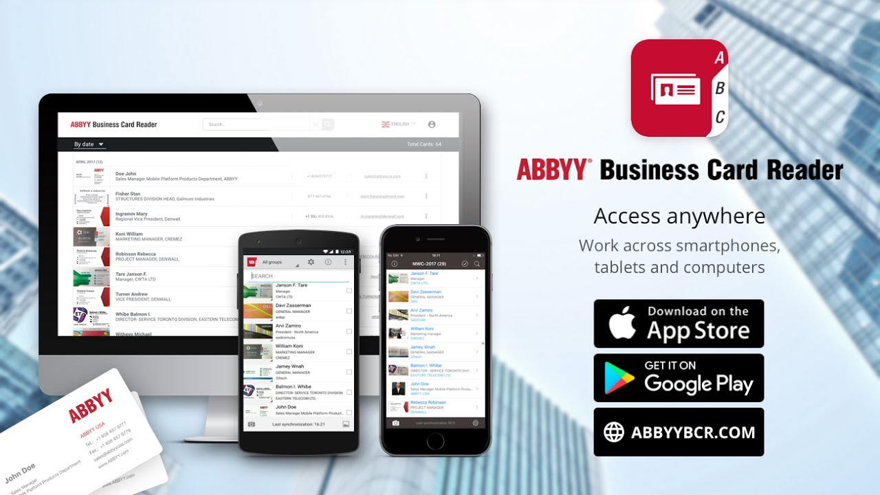 Abbyy Business Card Reader Web Scan With Android Access On Computer