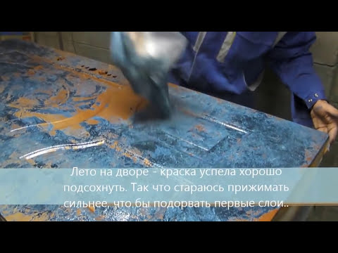 Покраска дверей в стиле под - камень малахит - Door painting in the style of stone malachite