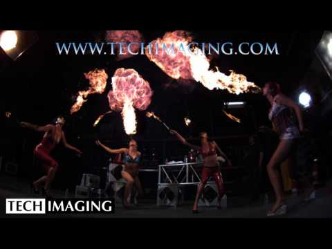 High Speed Camera Video - Fuel girls spiting fire