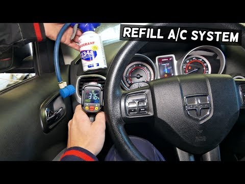 HOW TO RECHARGE REFILL AC SYSTEM AIR CONDITION ON DODGE JEEP CHRYSLER